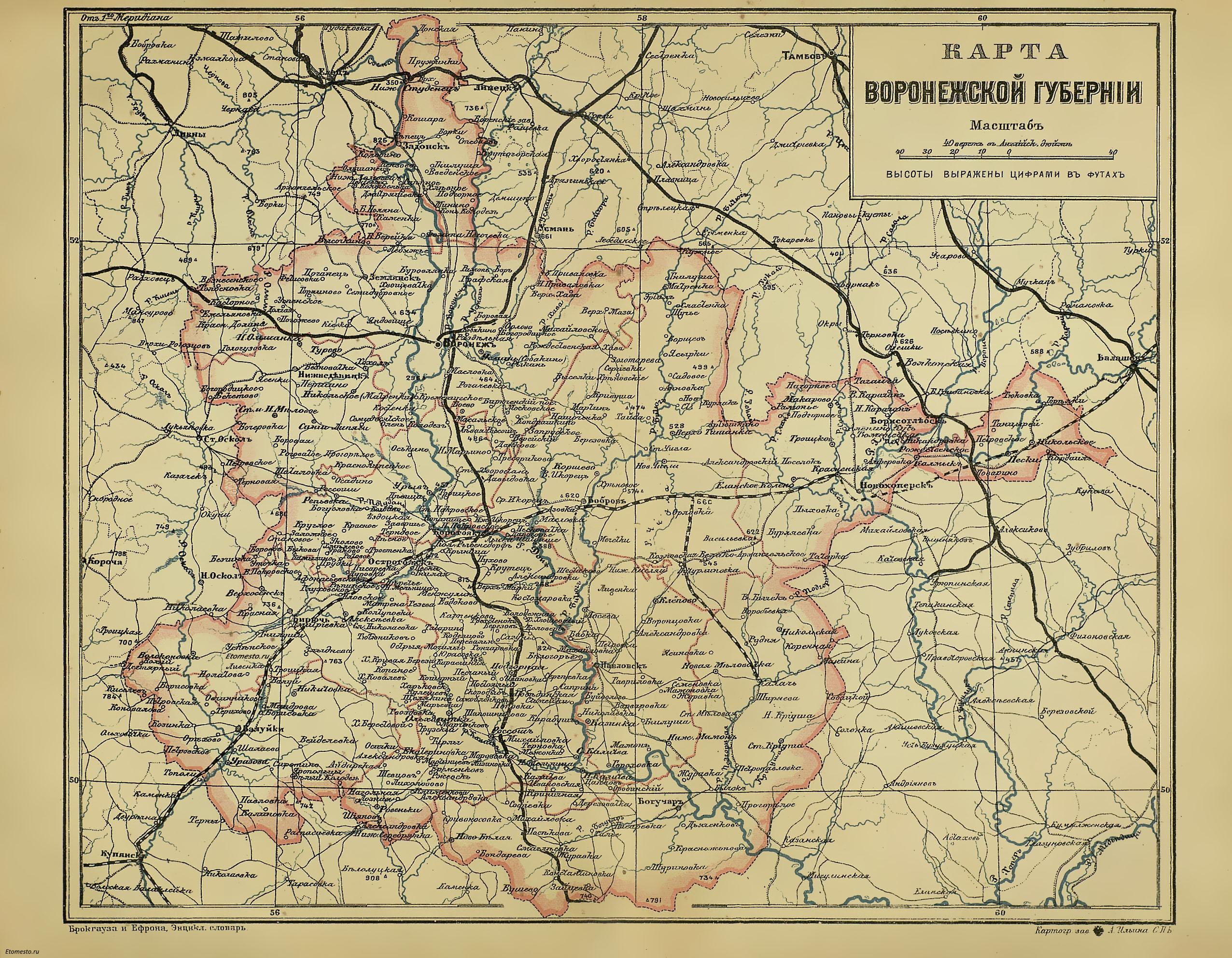 Воронежская губерния на карте брокгауза и ефрона скачать.