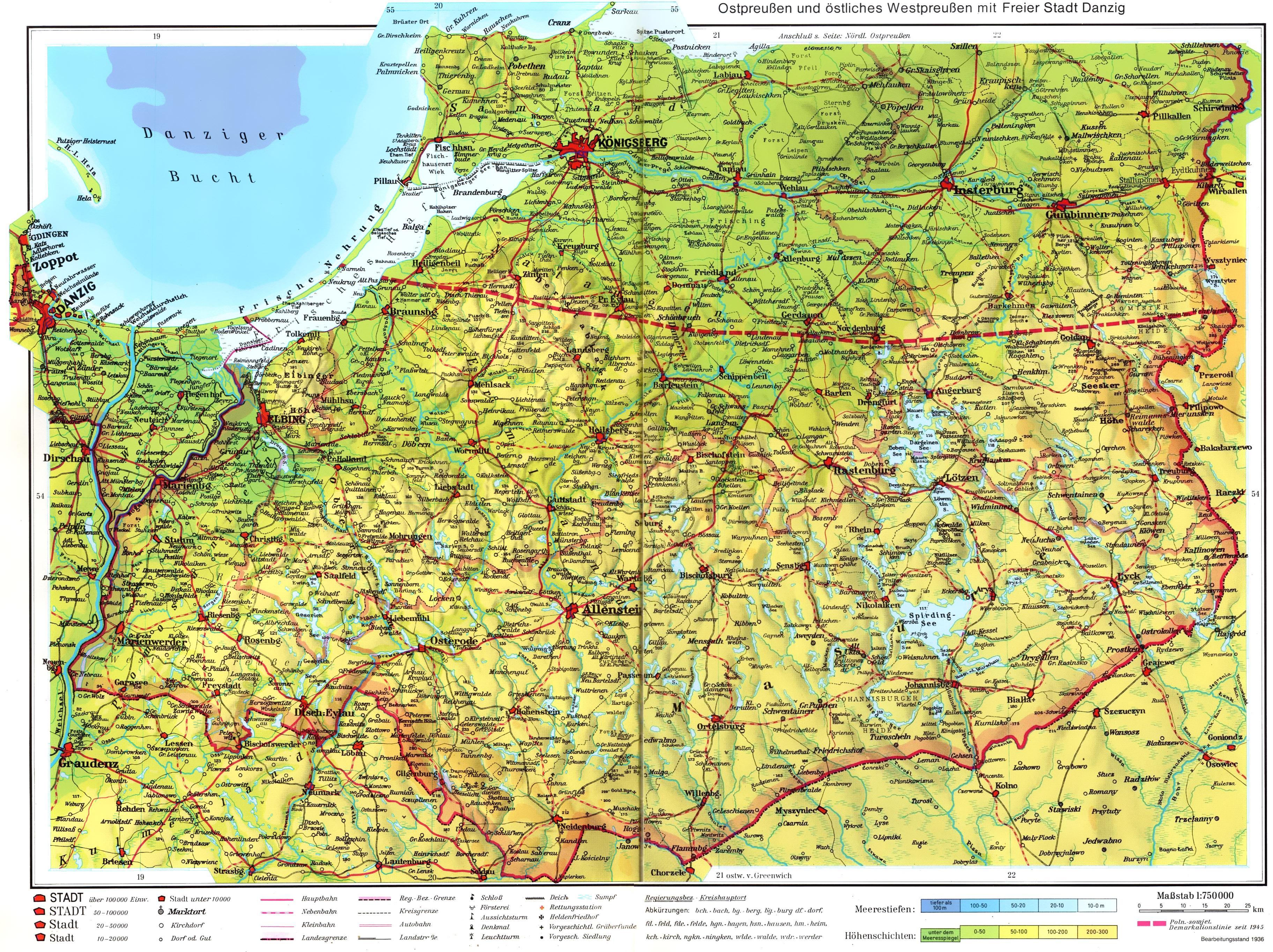 Карта западной части Восточной Пруссии 1936 года скачать: http://www.etomesto.ru/karta659/