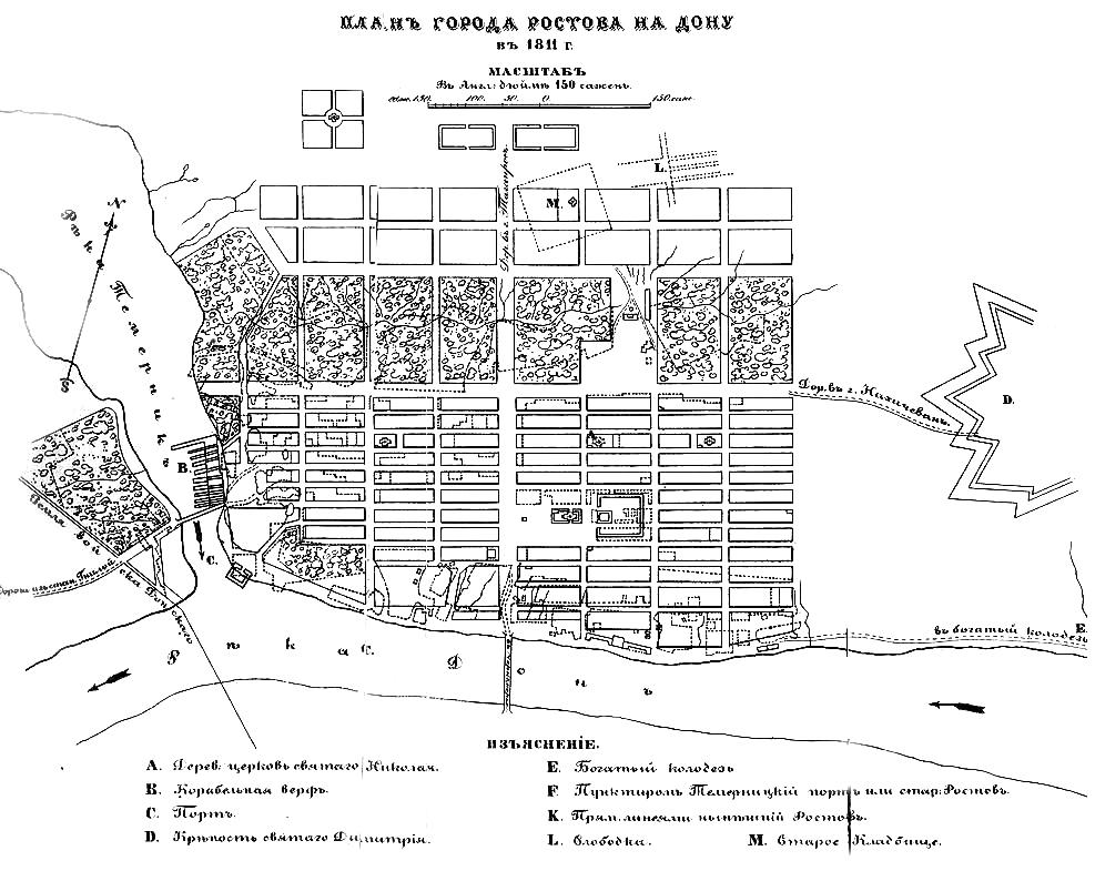 Ростов-на-Дону в 1811 году.  Условная схема. - картинка карты 987x785.