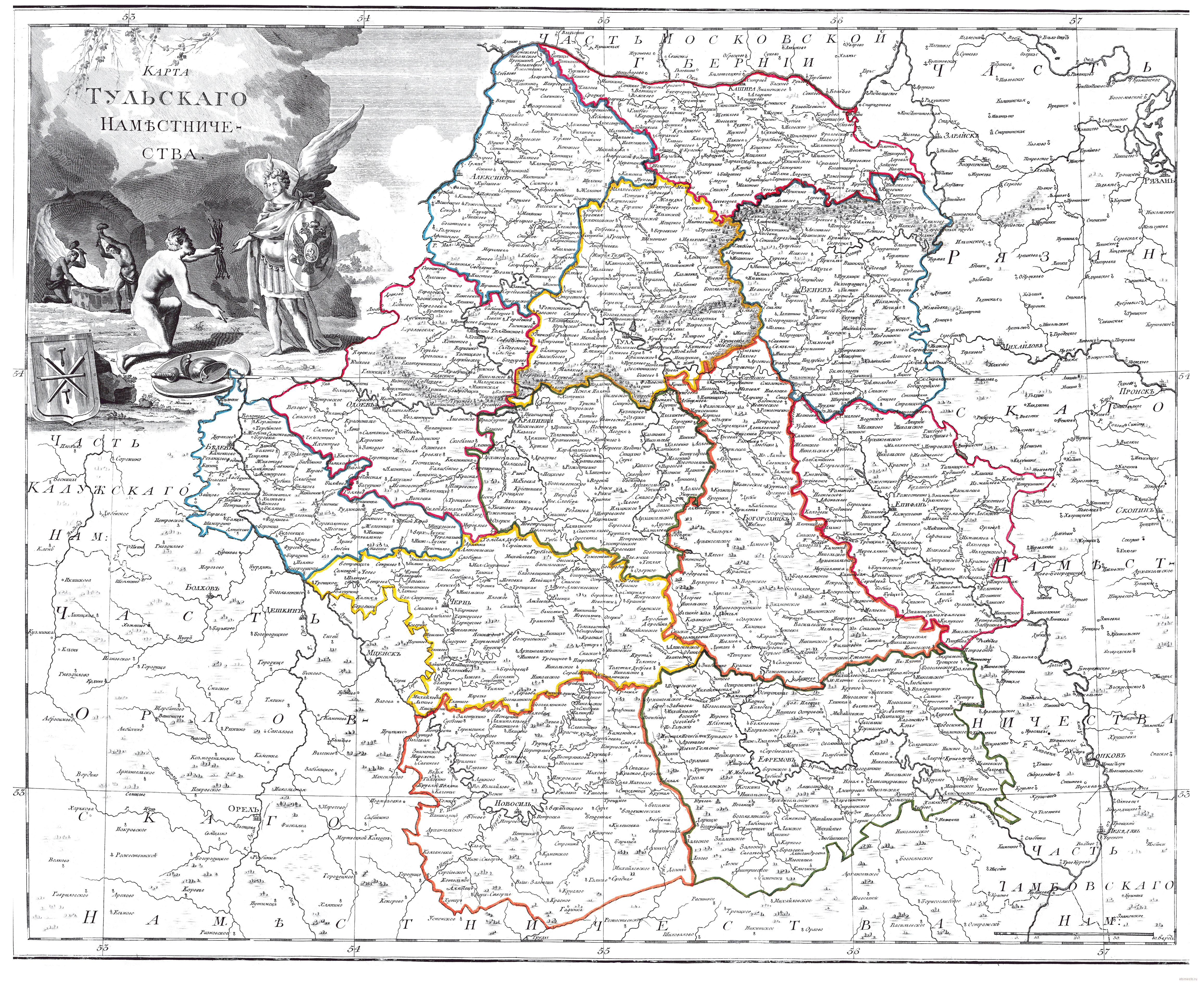 Карта тульской губернии 1800 года :: mapmarket - картографич.