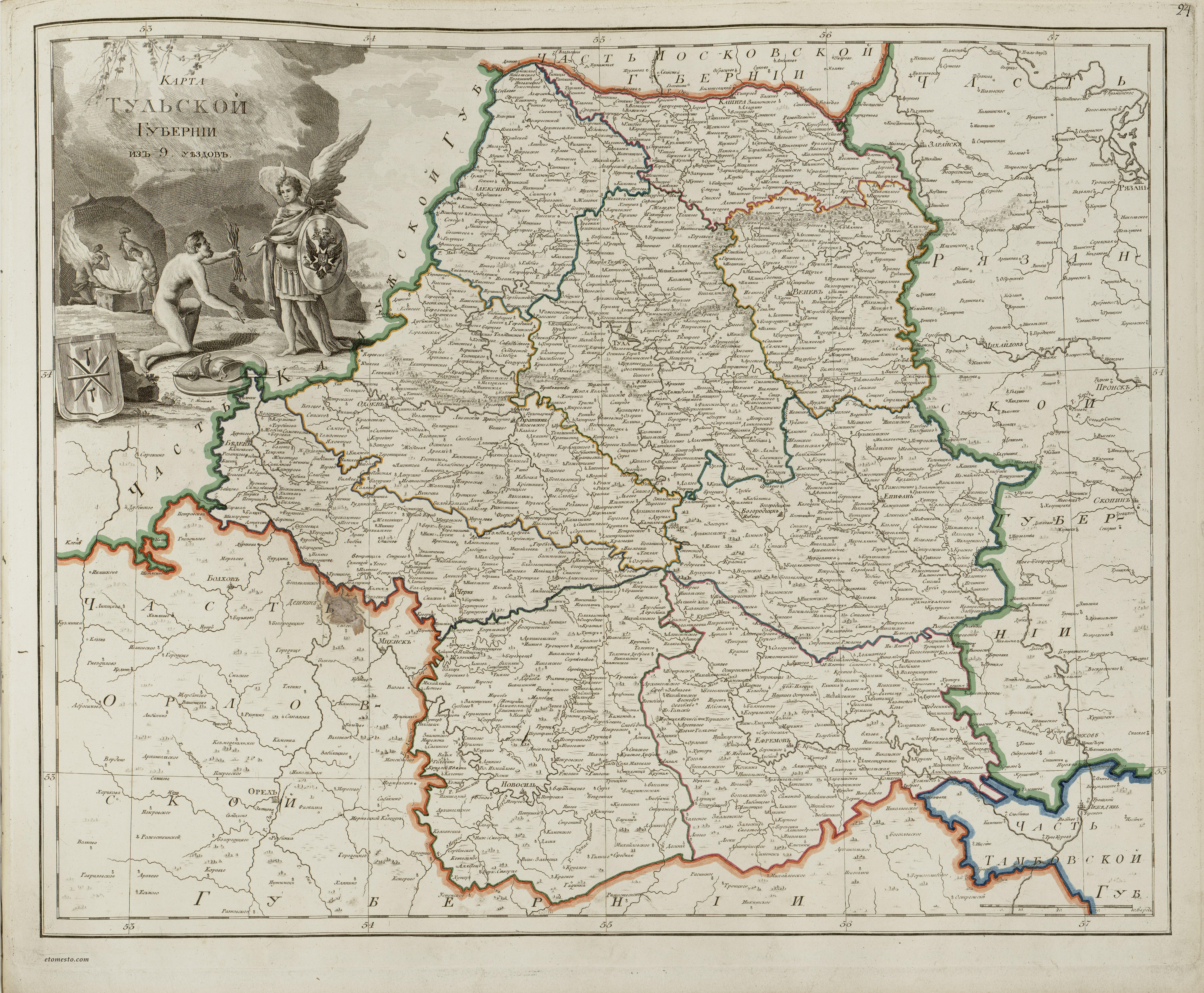 Карта тульской губернии в начале xix века скачать.